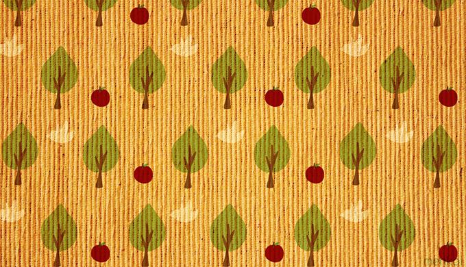 木と鳥とりんごの壁紙